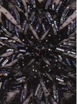 Büyük Yoğun Desenli Siyah Payetli - Boncuklu - Kupon Elbise - A30469