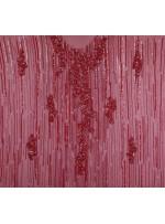 Çiçek Desenli Swarovski Taşlı - Boncuklu - Payetli Bordo Kupon Elbise - A30471
