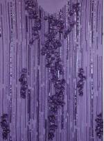 Çiçek Desenli Swarovski Taşlı - Boncuklu - Payetli Mor Kupon Elbise - A30471