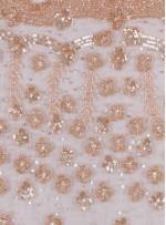 Çiçek Desenli Boncuklu - Taşlı Nişanlık ve Gelinlik Somon Kumaş - K30485