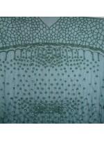 Çiçek Desenli Boncuklu - Taşlı Nişanlık ve Gelinlik Yeşil Kumaş - K30485