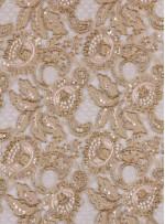 Dantelli Çiçek Desenli Boncuklu - Payetli Gold Abiye Kumaş - K30487