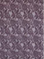 Dantelli Çiçek Desenli  Boncuklu - Payetli Vizon Abiye Kumaş - K30490