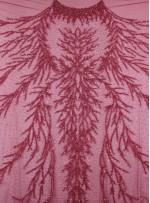 Dağınık Desenli Swarovski Taşlı - Payetli ve Boncuklu Bordo Kupon Elbise - A30494