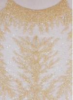 Dağınık Desenli Swarovski Taşlı - Payetli ve Boncuklu Gold Kupon Elbise - A30494