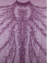Dağınık Desenli Swarovski Taşlı - Payetli ve Boncuklu Koyu Pembe Kupon Elbise - A30494