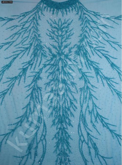 Dağınık Desenli Swarovski Taşlı - Payetli ve Boncuklu Petrol Kupon Elbise - A30494