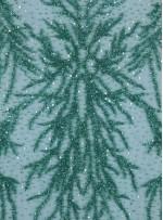 Dağınık Desenli Swarovski Taşlı - Payetli ve Boncuklu Yeşil Kupon Elbise - A30494