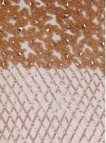 Yoğun Swarovski Taşlı - Payetli ve Boncuklu File Desenli Somon Kupon Elbise - A30524