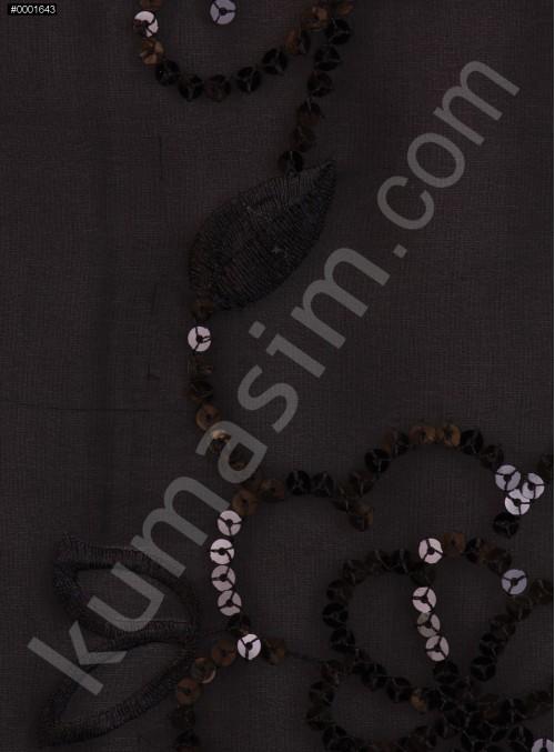 Şifon Üzeri Çiçek Desenli Payetli Siyah Kumaş - K3058