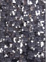 Labirent Desenli Tül Üzeri Kordoneli ve Payetli Gümüş Kumaş  - K3084
