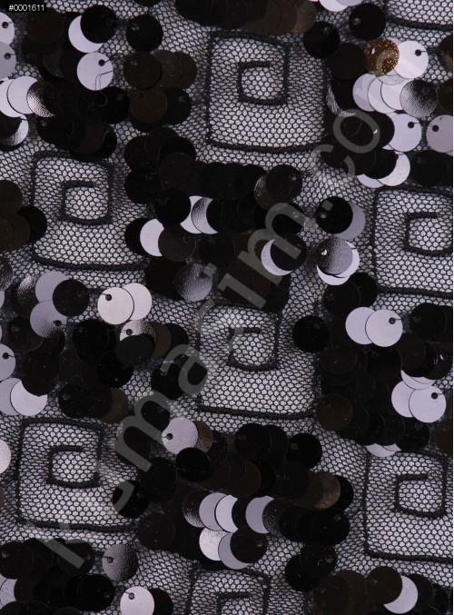 Labirent Desenli Tül Üzeri Kordoneli ve Payetli Siyah Kumaş  - K3084
