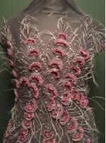 Boncuklu - Payetli Mor Desenli ve Tüylü Kupon Elbise - A30875