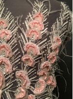 Boncuklu - Payetli Pembe Desenli ve Tüylü Kupon Elbise - A30875