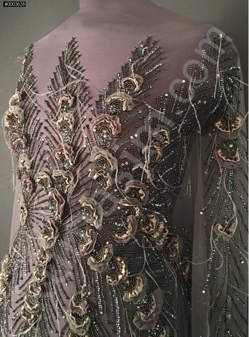 Boncuklu - Payetli Siyah - Gri Desenli ve Tüylü Kupon Elbise - A30875