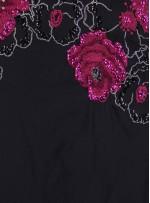 Siyah Tafta Üzeri Nakışlı Payetli Fuşya Kumaş - K3093