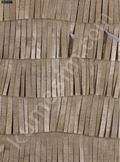 Şerit Saçaklı Suni Gold Deri Kumaş - K3099
