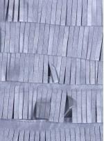 Şerit Saçaklı Suni Gümüş Deri Kumaş - K3099