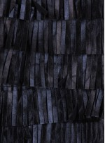 Şerit Saçaklı Suni Siyah Deri Kumaş - K3099