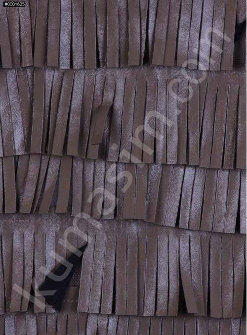 Şerit Saçaklı Suni Vizon Deri Kumaş - K3099
