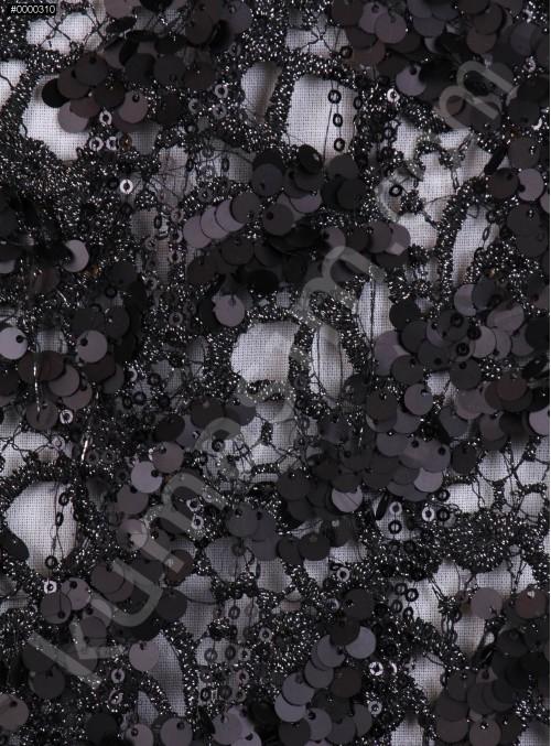 File Üzeri Payet Kumaş - Siyah - K3128