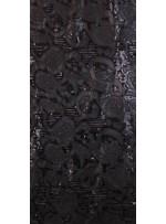 Patchwork Desenli Payetli Siyah Deri Kumaş - K3135