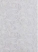 Kesme Taşlı Gül Desenli Kemik Lase Kumaş - K3145