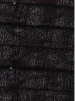 Kare Desenli Seyrek Payetli Siyah İp Kumaş - K3163