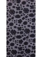 Tül Üzeri Çiçek Desenli Payetli Siyah Deri Kumaş - K3185