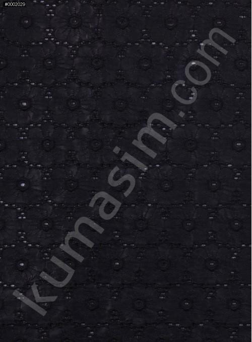 Çiçek Desenli Siyah Deri Kumaş - K3188
