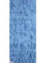 Tül Üzeri Üç Boyutlu Mavi Çiçekli Kumaş - K3205