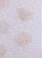 Dantel Üzeri 3 Boyutlu Organze Çiçekli Pudra Kumaş - K3211