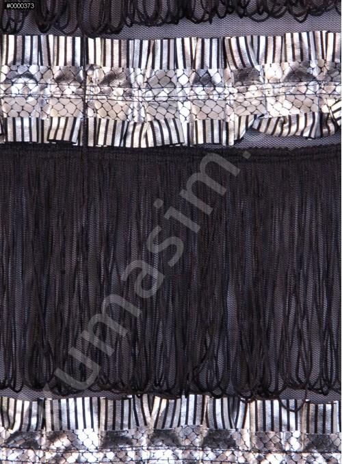 Tül Üzeri Saçaklı Kumaş - Siyah - K3213