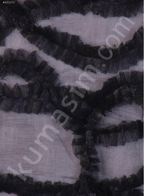 Tül Üzeri Dalga Desenli Siyah Lase Kumaş - K3223