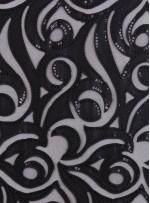 Lazer Kesim Saten Üzeri Karışık Desenli Payetli Siyah Kumaş - K3228