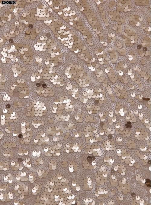 Karışık Desenli Krem Gold Payetli Kumaş - K3231