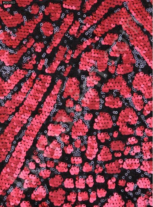 Karışık Desenli Siyah Kırmızı Payetli Kumaş - K3231