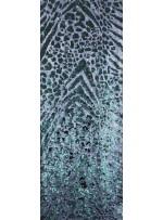 Karışık Desenli Gümüş Yeşil Payetli Kumaş - K3231