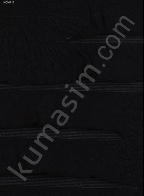 Papatya Desenli Lazer Kesimli Siyah Jarse Kumaş - K3235