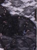 Dantel Üzeri Lase ve Payetli Kumaş  - Siyah - K3237