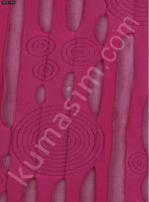 Daire ve Çizgi Desenli Fuşya Örme Kumaş - K3239