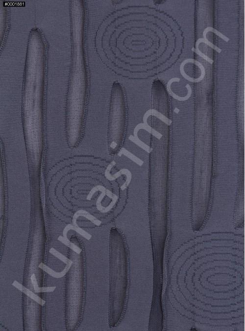 Daire ve Çizgi Desenli Gri Örme Kumaş - K3239