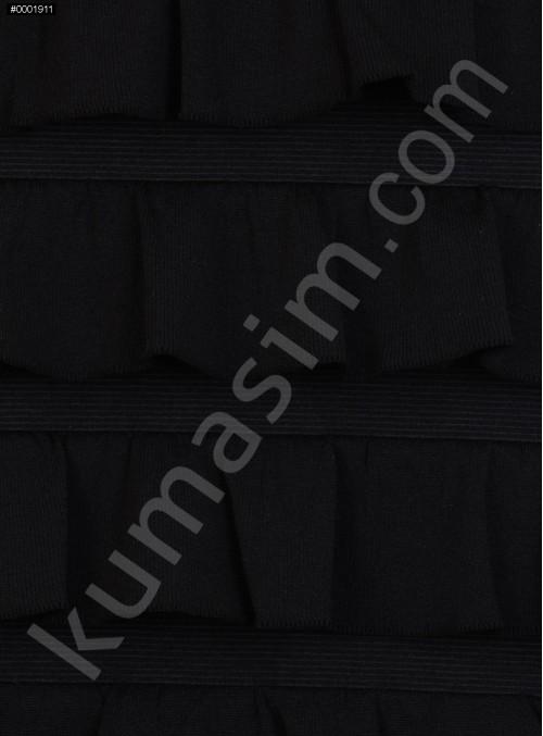 Fırfır Desenli Örme Siyah Kumaş - K3240