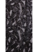 Karışık Desenli Siyah Payetli Kumaş - K3248