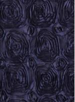 Siyah Gül Desenli Saten Kumaş - K3249