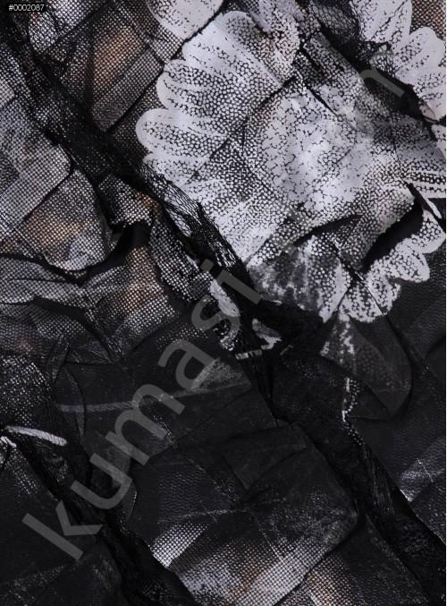 Antrasit Verev Desenli Saten ve Saçaklı Tül Kumaş - K3255