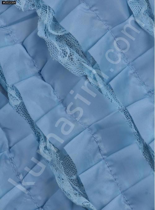 Mavi Verev Desenli Saten ve Saçaklı Tül Kumaş - K3255