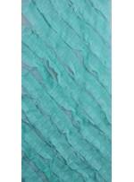 Mint Yeşil Verev Desenli Saten ve Saçaklı Tül Kumaş - K3255