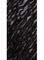 Siyah Verev Desenli Saten ve Saçaklı Tül Kumaş - K3255