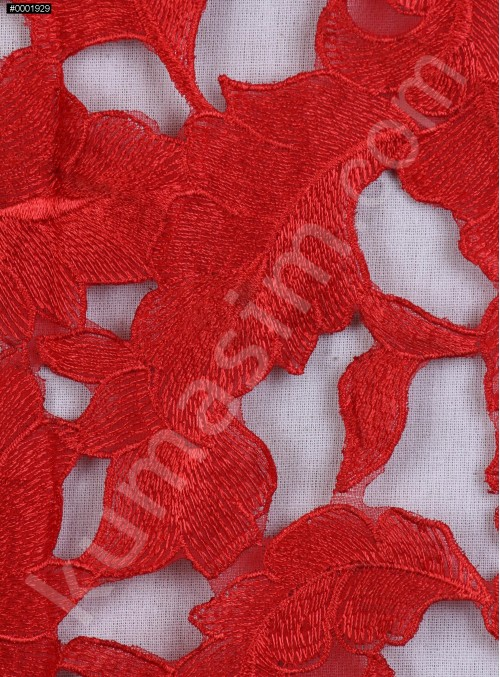 Lazer Kesimli Yaprak Desenli Kırmızı Kumaş - K3260